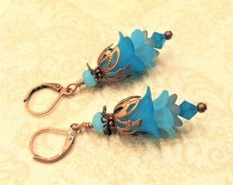 Aqua Lucite Flower Earrings, Crystal Swarvoski Earrings, Lily Earrings, Art Nouveau, Antique Copper, Mermaid Earrings, Victorian, Ren Faire
