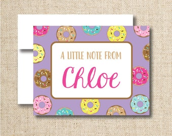 Personalized Donut note cards / stationery - Set of 10 or 15