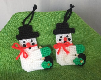 Snowman Ornament Handmade Set of 2 Small Vintage Red Green Christmas Holiday Decor