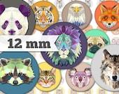 Animals - 13 Unique Images - 12mm Circles - Digital Collage Sheet - INSTANT DOWNLOAD