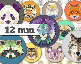 Animals - 13 Images - 12mm  - Printable Digital Collage - Jewelry, Stickers, Bottle Caps, Magnets - INSTANT DOWNLOAD