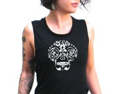 Calavera Muscle Tee, Sugar Skull Workout Top, Muscle Tank< Gym Shirt, Graphic Muscle Tee