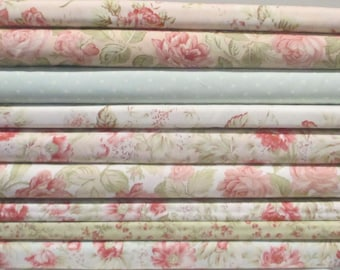Pink Peach Cream Green 3 Sisters Favorites Half Yard Fabric Bundle - Moda - 3 Sisters