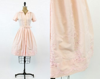 50s Dress Embroidered XS / 1950s Vintage Dress Shirtwaist / Isabella Dress
