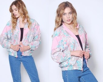Vintage 90s PASTEL Graphic Windbreaker Jacket 90s Bomber Jacket 90s Clothing