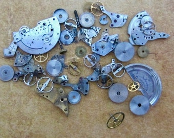 Vintage WATCH PARTS gears - Steampunk parts - b31 Listing is for all the watch parts seen in photos