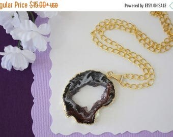 ON SALE Druzy Necklace Gold, Gold Geode Necklace, Crystal Necklace, Gold Geode Slice Druzy, Healing Stone, Natural Stone, Crystal Pendant, G