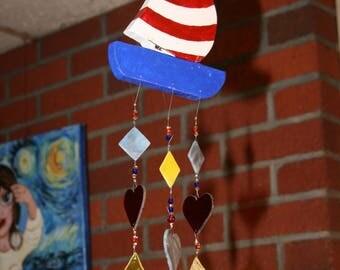 Sail boat wind chime.stain glass,nautical art,folk art,sailing,whimsical,hand made,Garden art.