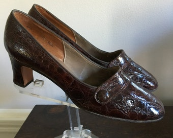 Vintage 60s Dark Brown Mr. E Genuine Alligator Pumps Shoes Size 6.5 narrow width