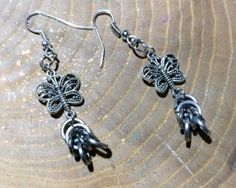 Silver Rings Filigree Butterfly Handmade Stainless Steel Chain Mail Dangle Earrings