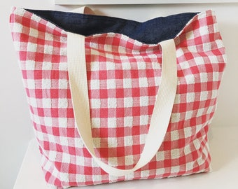 Terry Cloth Picnic Tote/ Beach Bag/ Market Bag/ Reversible