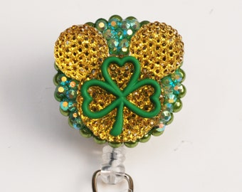 St. Patricks Day Shimmery Gold Mickey Mouse ID Badge Reel - Retractable ID Badge Holder - Zipperedheart