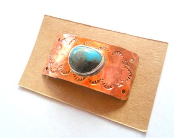 Artisan Rustic Arizona Turquoise and  Copper Bracelet Link Finding
