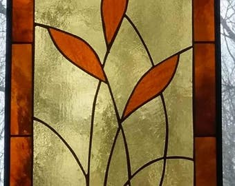 stained glass window,Oriental,Wheat,bamboo,amber,brown,leaded glass,stainedglass,stainglass,leaded glass window,insured,usa