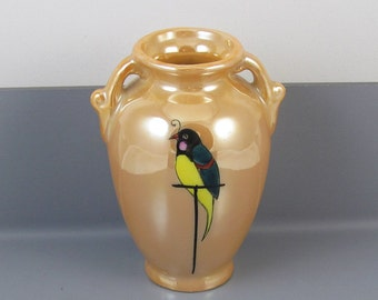 Vintage Art Deco Japan Lusterware / peach luster / asian miniature oriental bud vase hand painted bird / porcelain / ceramic / pottery