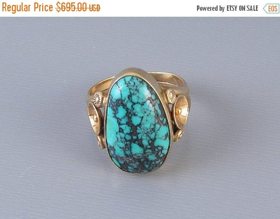 Holiday Sale Vintage Southwest Native American Indian 14k gold wide cigar band ring with large turquoise in matrix 1970s