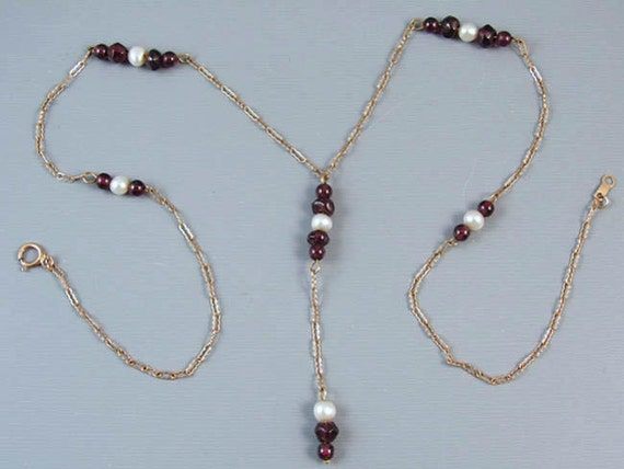 Modern estate 10k gold purple amethyst bead and cultured pearl Y drop pendant necklace