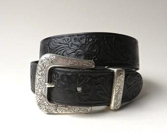 vintage Floral Equine Tooled Black Leather Belt with Floral Embossed Silver Metal Buckle / Liz Claiborne Tooled Leather Belt
