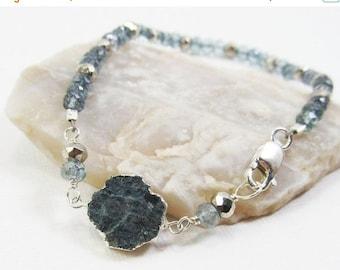 HOLIDAY SALE Blue Tourmaline, Quartz, and Silver Pyrite Gemstone . Sterling Silver Layering Bracelet . Teal Blue, Aqua Blue, Metallic Silver