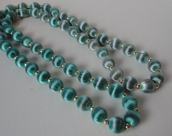 Vintage Aqua Color Silk Beads with Gold  Spacers Necklace. 1960s.