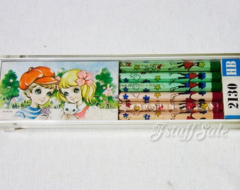 70's Vintage Makoto Takahashi pencils with plastic case - One dozen