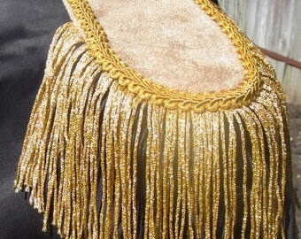 Mens Military Style Gold Suede Look Epaulettes with Gold Metallic Tassle ! For the Royal Gentleman!
