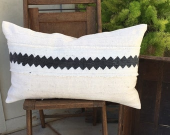 Authentic African  Woven  16X26 White Mudcloth  Lumbar Pillow Cover with Bold Black Tribal Design  Farmhouse / Modern / Industrial