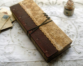 The Old Relic - Antique Fabric Journal, Ledger Style, Hand Bound, Aged Paper - OOAK