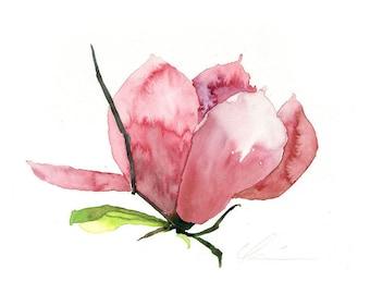 Pink, Purple, Green, Springtime Saucer Magnolia Watercolor by Clair Hartmann Original