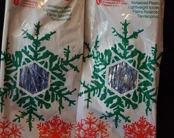Vintage Christmas Icicles  Union Wadding Co.. Silver Icicles  Christmas Decoration  Shiny Silver Icicles Set of 2 Boxes