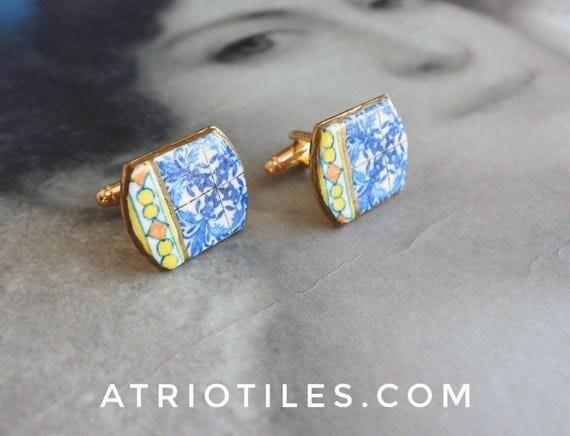Cuff Links Majolica Portugal Antique Azulejo Tile Replica Tile , Porto Blue - Unisex Men Man Gift box Included