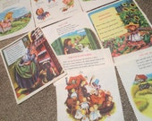 """Vintage Cloth Pages Nursery Rhymes / pages / 8 x 9"""" / Mother Goose / zig zag edge / frameable art / Child Decor / Scrapebook Supplies"""
