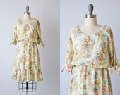 Vintage 1980s Floral Cotton Dress / Bohemian Dress / Prairie Dress / Split Sleeves