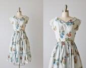 Vintage 1950s Dress / 50s Dress / Blue / Cotton Dress / Small / Floral