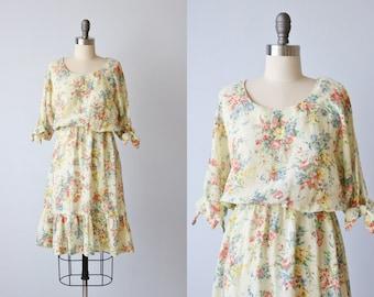 Vintage 1980s Floral Cotton Dress / Bohemian Dress / Prairie Dress / Split Sleeves