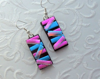 Pink Blue Earrings - Dichroic Fused Glass Earrings - Bohemian Earrings - Boho - Dichroic Earrings - Dichroic Jewelry - Cute Earrings X3112