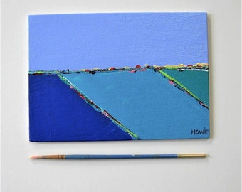 Original blue acrylic seascape painting, landscape canvas panel, 7 x 5, Contemporary Fine art, Abstract Wall Decor, Expressionist, gift idea