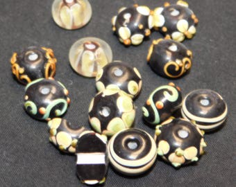 Black and Yellow Lampwork Beads