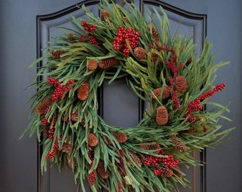 Holiday Wreath with Pinecones, Wreaths, Christmas Pine Wreath, Christmas Wreaths with Red Berries, Winter Wreaths, XL Christmas Wreath