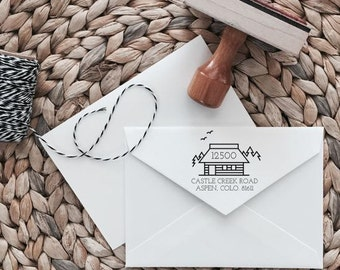 Custom Return Address Stamp | Cabin Style | Wood with Handle or Self Inking