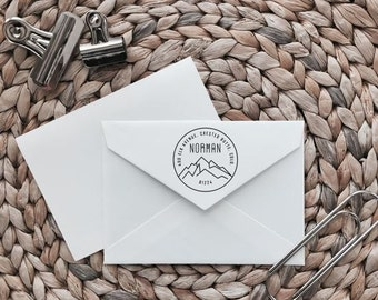 Custom Return Address Stamp | Mountain Style | Wood with Handle or Self Inking