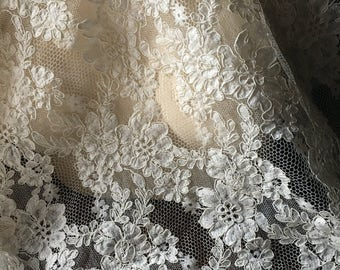 SALE Ivory Cream Lace Alencon Lace for Bridal Gowns, Headpieces, Handbags, Clutches