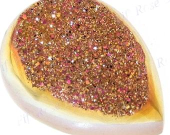 "Us-made 3/4"" Pear Strawberry Mocha Titanium Druzy Drusy Cab Cabochon"