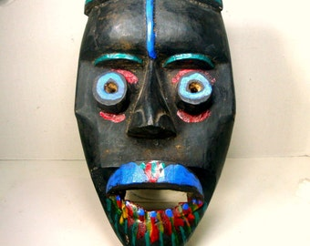 Africa Tribal Mask, DAN Mask, Carved Painted Stained Wood, IVORY COAST African folk Art, Ancestor Worship, 1980s Purchase