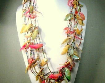 Mermaids Seashell Necklace, 7 Confetti  Strands, 1970s Rainbow Multicolor Glass Seed Beads, Pink White Yellow Aqua Seashell Spikes