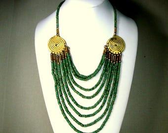 Green GODDESS Multistrand Bib Necklace, Brass & Ceramic Beauty, 8 Graduated Lengths of Seafoam Aqua Green Beads Attached to Spiral Coils