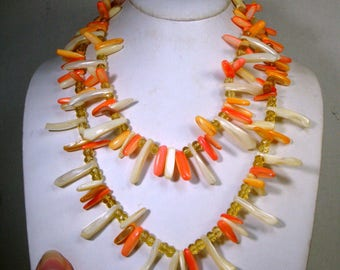 Mermaid Shell Spike Long Necklace,  Peach Orange White Mother of Pearl Seashell Points, Boho Beach Artsy, 1970s
