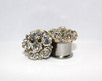 "White Crystal Cluster Bunch Plugs 1/2""  12mm Double Flare"