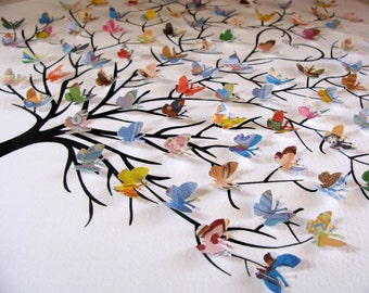 8x10 - 3D Tree of Mini Butterflies using Upcycled Love You Forever or Your Choice of Book. Personalized at Bottom. Made to Order