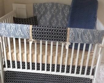 Baby Boy Crib Bedding Set Taupe Denim Blue Navy Cream Tribal Aztec Bumperless